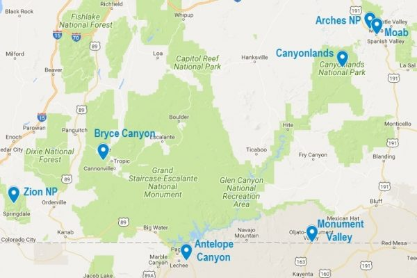 Carte du Arches National Park et des autres parcs de l'Utah et du nord de l'Arizona