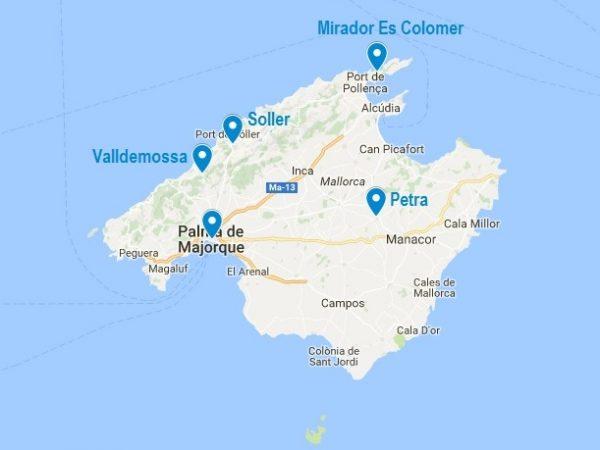 Carte de mes points d'intérêts à Majorque en dehors de la plage