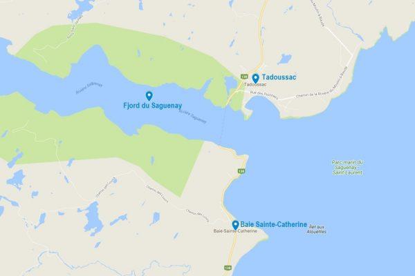 Carte de Tadoussac et Baie Sainte Catherine