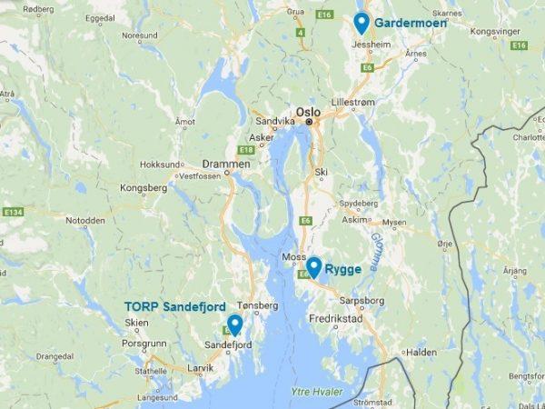 La carte des 3 aéroports d'Oslo