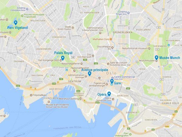 Carte des lieux d'intérêt à Oslo
