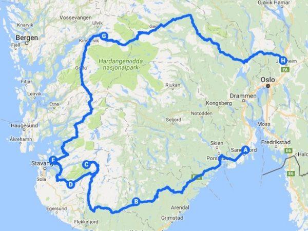 Itinéraire de mon roadtrip en Norvège
