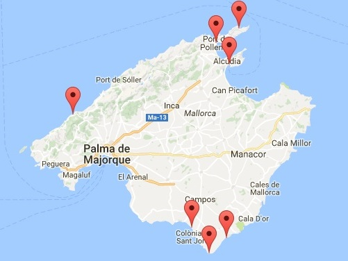 La carte des plages de Majorque mentionnées dans cet article