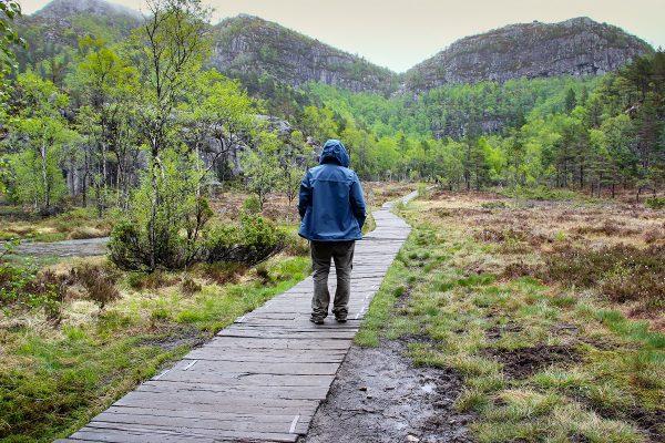 Sur le chemin de la randonnée du Preikestolen en Norvège