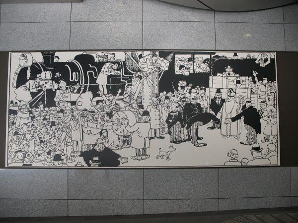 Une fresque sur Tintin à l'intérieur de la gare du Luxembourg de Bruxelles