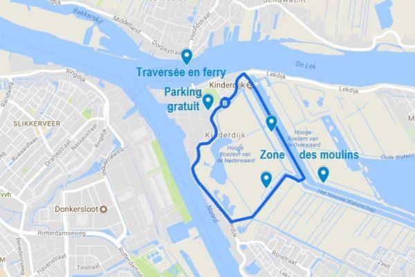 Carte de Kinderdijk et de la boucle que l'on peut réaliser à pieds