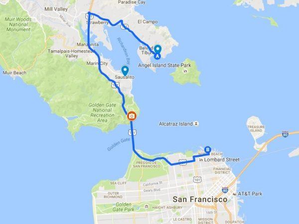 Itinéraire de circuit vélo à San Francisco