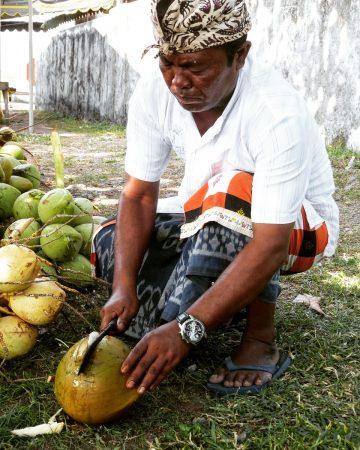 Dégustation de lait de coco à Bali