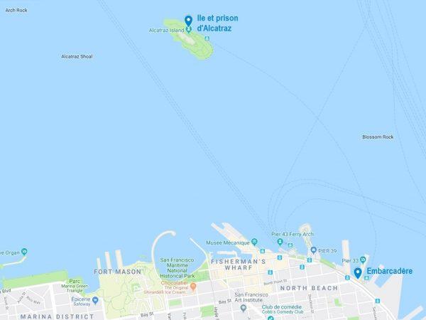 Carte de l'ile d'Alcatraz et de l'embarcadère à San Francisco