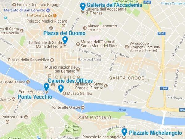Carte des incontournables à Florence