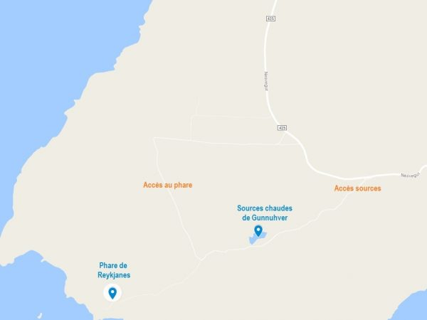 Accès aux sources chaudes de Gunnuhver et au phare de Reykjanes