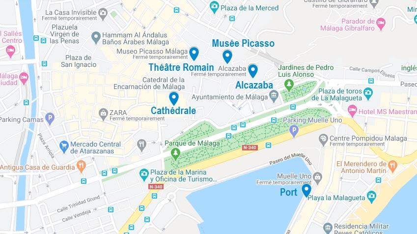 Carte de points d'intérêt pour visiter Malaga