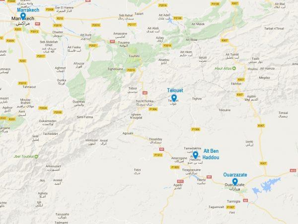 Carte de localisation du ksar d'Aït Ben Haddou au Maroc
