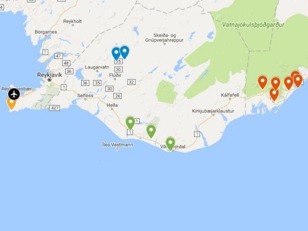 Itinéraire de mon voyage en Islande de 4 jours