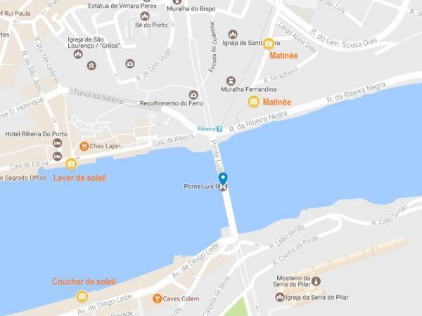 La carte des emplacements de mes 3 spots photo favori du Ponte Luis I de Porto