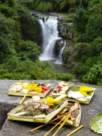 Des offrandes à Bali, île hindouiste