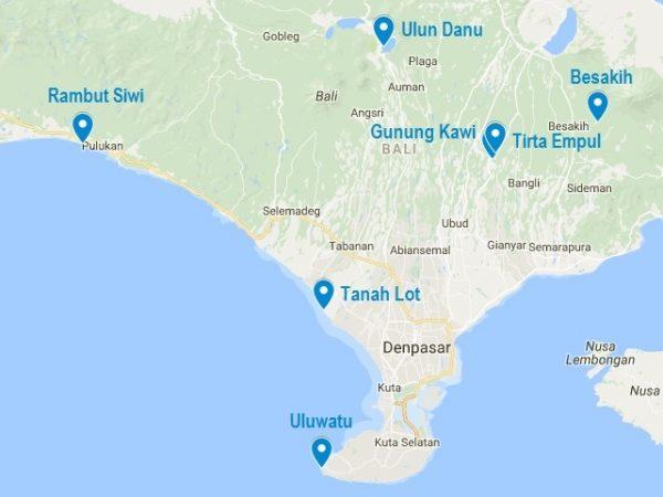Carte de mes 7 temples incontournables à Bali