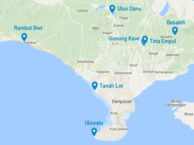 Carte Bali Mer.7 Temples Incontournables A Bali L Hindouisme Tres Present