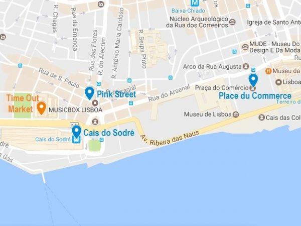 Plan d'accès au Time Out Market de Lisbonne