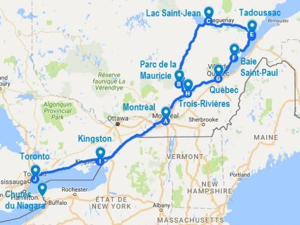 Itinéraire de mon voyage au Québec et Ontario