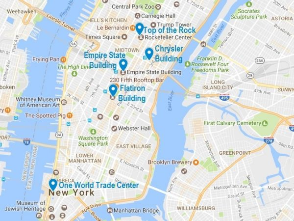 Carte de mes 5 gratte-ciel incontournables à New-York