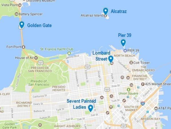 Carte de mes 5 incontournables à San Francisco