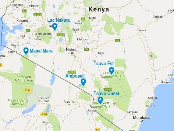 Où voir les big five au Kenya ? La carte des 5 parcs évoqués dans cet article
