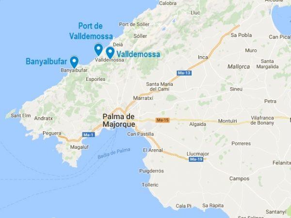 Valldemossa sur un plan de Majorque