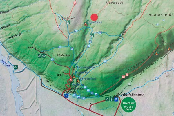 Le plan du parc national de Skaftafell en Islande