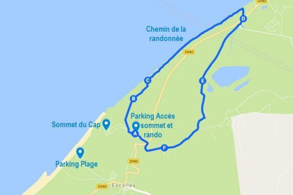 Carte du Cap Blanc Nez avec l'itinéraire de la randonnée