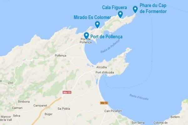 Carte du Cap de Formentor et des lieux évoqués dans cet article