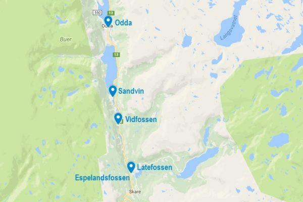 La carte de la cascade de Latefossen en Norvège
