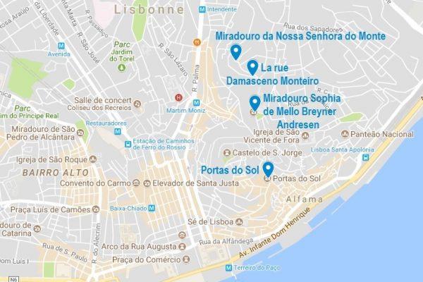 La carte de mes meilleurs panoramas de Lisbonne