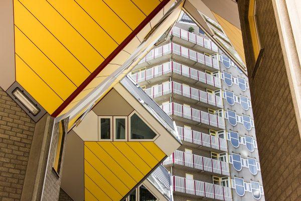 L'aspect photogénique des maisons cubiques de Rotterdam et du quartier alentour