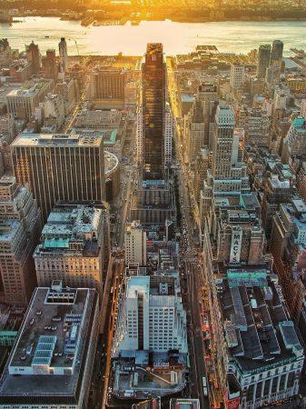 Coucher de soleil sur New-York depuis le haut de l'Empire State Building