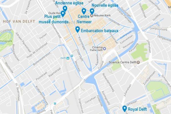 Carte de Delft des endroits cités dans cet article