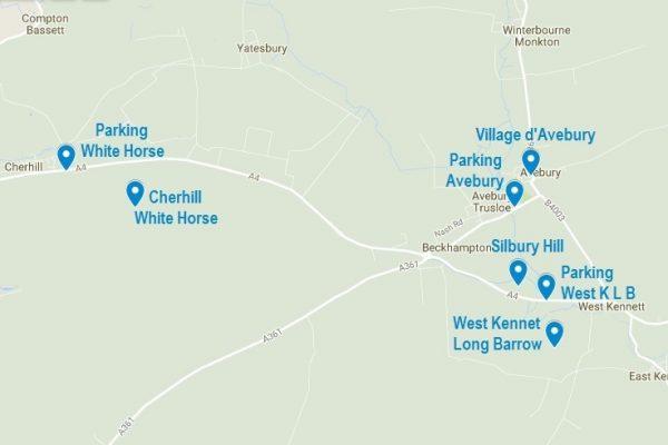 La carte d'Avebury et les lieux mentionnés dans cet article
