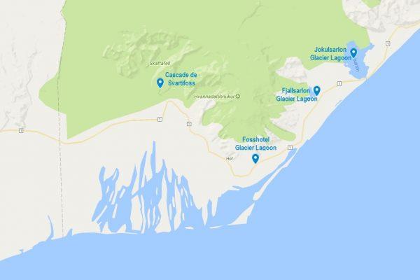 Situation géographique du Fosshotel Glacier Lagoon