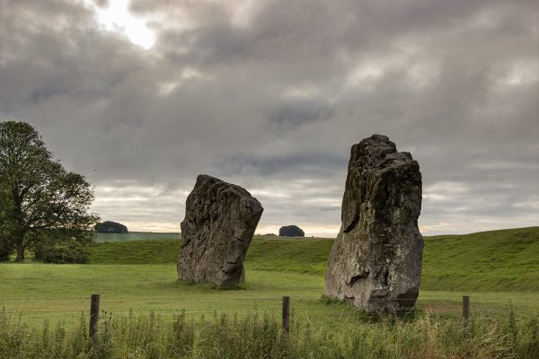 Les menhirs dressés dans les prairies d'Avebury, aux couleurs du matin