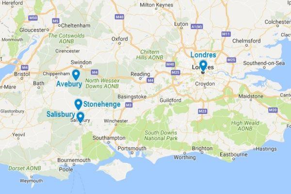 Stonehenge sur la carte d'Angleterre