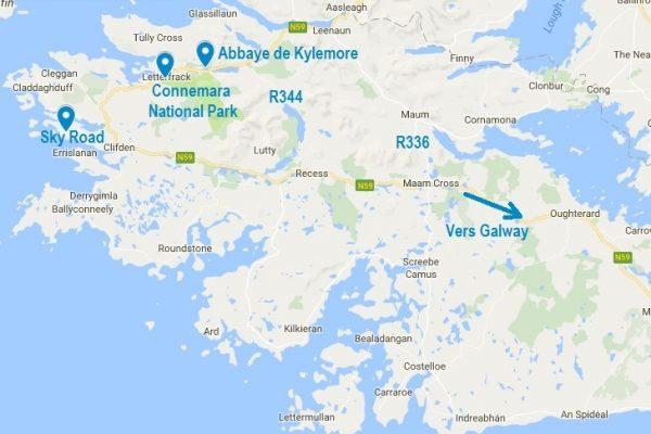 Carte d'accès à l'abbaye de Kylemore