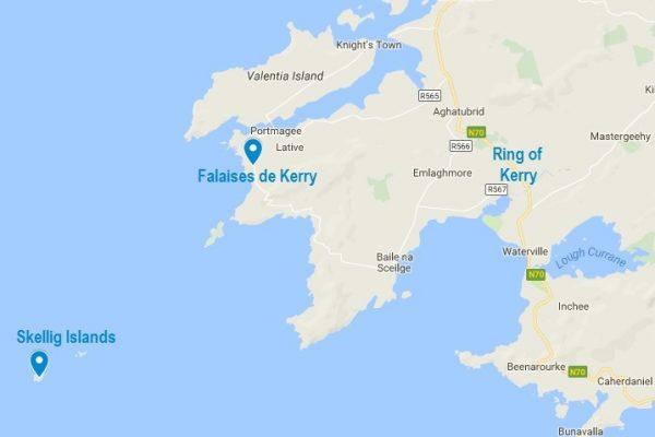 Carte d'accès aux falaises de Kerry