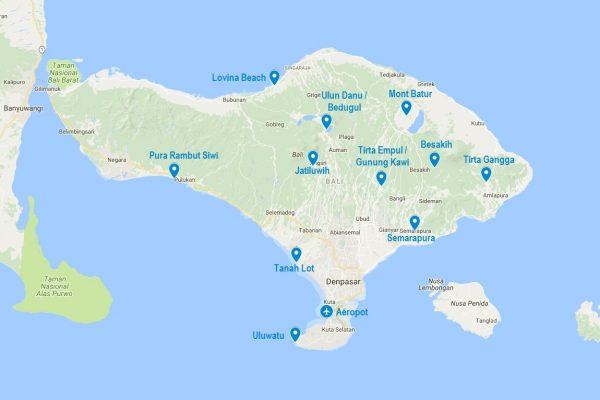 Points d'intérêts sur une carte de Bali