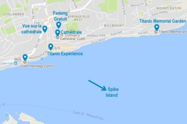 Plan et points d'intérêts pour visiter Cobh