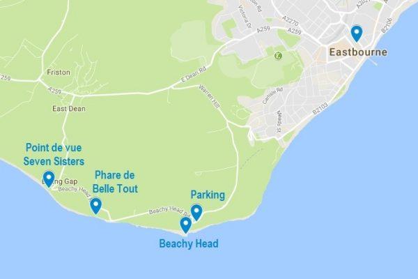 Le Beachy Head et les différents points d'intérêt mentionnés dans cet article