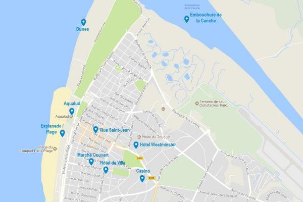 Carte du Touquet avec points d'intérêt