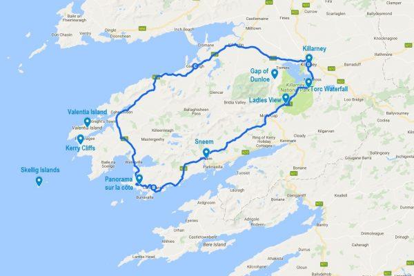 Carte du tracé du Ring of Kerry en Irlande avec les points d'intérêts