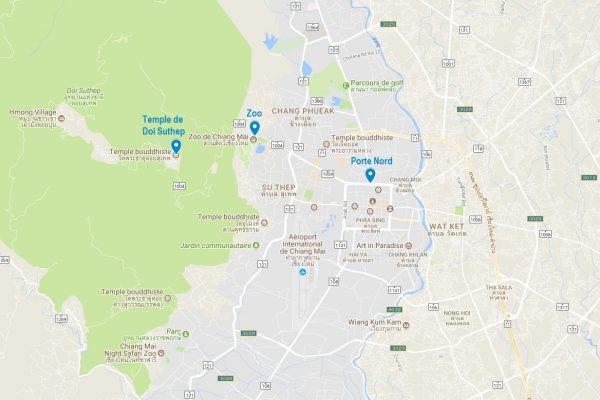 Carte de Doi Suthep près de Chiang Mai
