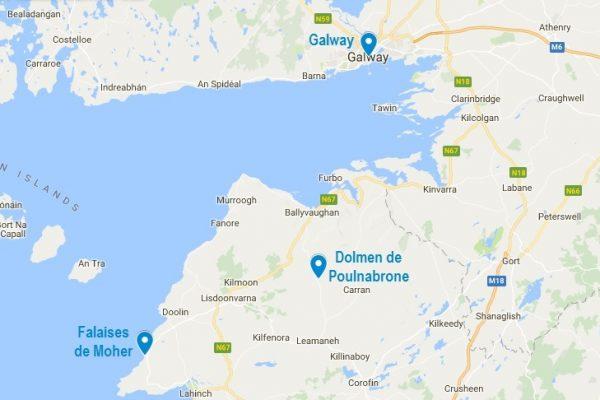 Carte des points d'intérêts autour du dolmen de Poulnabrone