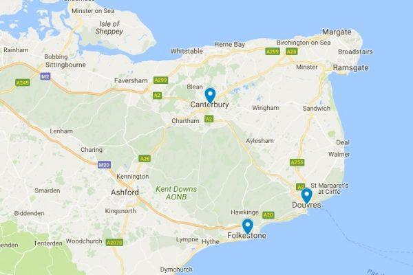 Carte indiquant la situation géographique de Canterbury